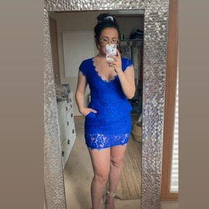 Brand new royal blue lace babaton dress